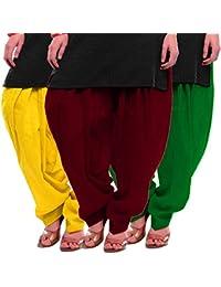 Women's Yellow-Maroon-Green Cotton Patiala Salwar