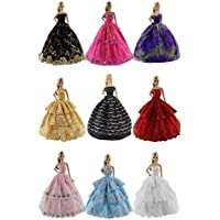 Lot 5 Pcs Fashion Handmade Clothes Dress+ 10 Pairs Shoes For Barbie Doll