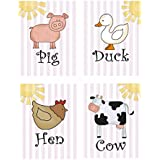"""Child's Bedroom Nursery Wall Art - Set Of 4 Decorative Prints: FARM ANIMALS (DR185) (8"""" By 10"""" (set Of 4))"""