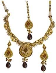 Exotic India Red Polki Necklace Set With Mang Tika - Copper Alloy With Cut Glass