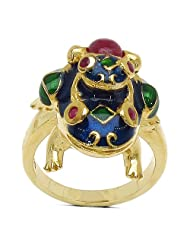 9.30 Grams Red Synthetic Stone & Ruby Gold Plated .925 Sterling Silver Blue & Green Enamel Frog Shape Ring