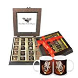 Chocholik Belgium Gifts - Assorted Chocolates With Beautiful Wooden Box With Diwali Special Coffee Mugs - Diwali...