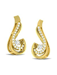 0.25 TCW Round Cut 14K Yellow Gold Over .925 Silver Stud Earrings For Women's
