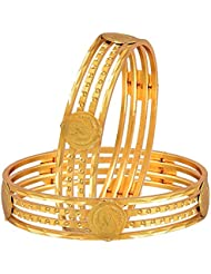 Zeneme Temple Coin Precious Gold Plated Bangles Jewellery For Women And Girls