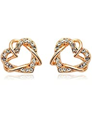 Silver Shoppee Valentine Special 18K Rose Gold Plated Cubic Zirconia Alloy Stud Earring
