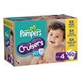 Pampers Cruisers Diapers Economy Pack Plus Size 4, 160 Count (Packaging May Vary)