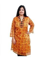 Viniyog Women Hand Woven Maheshwari Cotton-Silk Hand Block Printed Yellow Kurti