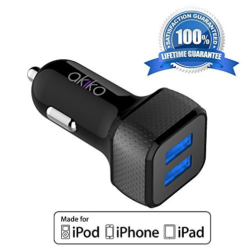 Akiko [Smart Port} 4.4A/22W Dual Port USB Car Charger -[Black/Grey] Portable Fast External Battery Pack Charger...