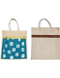 Cristal Bags Jute Shopping Bags (Pack Of 2, Jute-658)