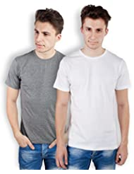 TOMO Men's Cotton Solid Color Round Neck T-shirt Combo Pack Of 2 - B00ZRLLG1E