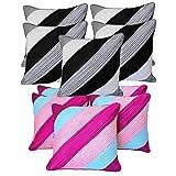 Diagonal Patch Quilting Cushion Covers Combo Grey & Pink 40 X 40 Cms(10 Pcs Set)