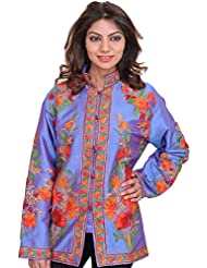 Exotic India Blue-Bonnet Jacket From Kashmir With Ari-Embroidered Flowe - Purple