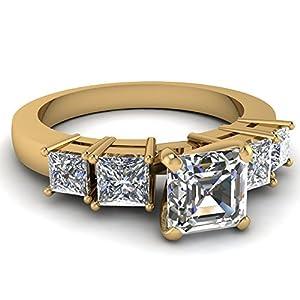 Fascinating Diamonds 1.7 Ct Asscher Cut & Princess Diamond Tetrad Facade Engagement Ring VVS1 14K GIA