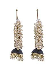 The Jewelbox Pearl Blue Enamel Gold Plated Jhumki Bali Earring