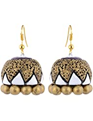 Scorched Earth Mili Terracotta Jhumkas SEE7401 Gold And White Ceramic Jhumki For Women