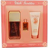 White Shoulders For Women Set Eau De Cologne Spray 4.5 Oz Body Lotion 3.3 Oz & Parfum .25 Oz Mini