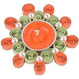 Ishu's Creation Wax, Quelling Paper & Pearls Decorative Tealight Candle (8 Cm X 8 Cm 2 Cm, Multi, Ish8_1,)