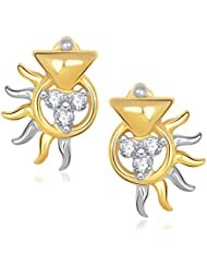 VK Jewels Sparkle Gold And Rhodium Plated Stud Earrings For Women -ER1192G [VKER1192G]