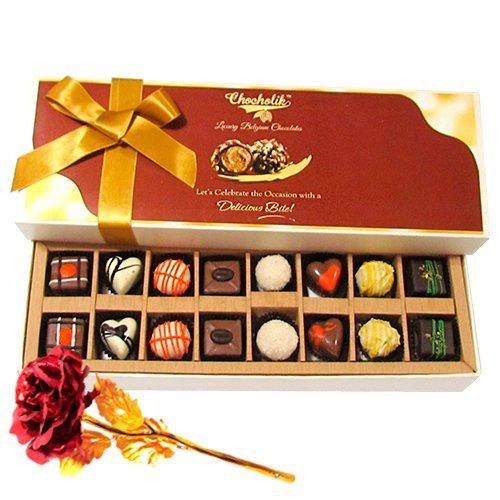 Mix Assorted Chocolates With 24k Red Gold Rose - Chocholik Belgium Chocolates
