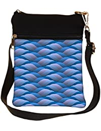 Snoogg Background Of Curled Blue Wave Cross Body Tote Bag / Shoulder Sling Carry Bag