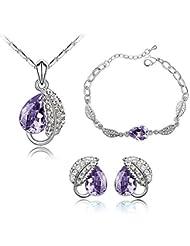 Nakabh Elegant Wine Purple Crystal Combo Jewellery Set Of Pendant Bracelet And Earrings For Girls And Women