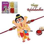 Royalina Exclusive Designer Ganesha Kids Rakhi With Roli Chawal Chandan Mishri Special Gift For Brother Rakshabandhan