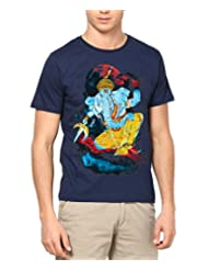 Men, Round Neck EKDANT GANESHA T SHIRT, Navy Blue
