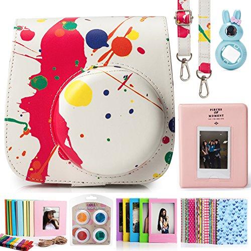 CAIUL 7 dans 1 Accessoires Set pour Fujifilm Instax Mini 8/8+ Appareil Photo (Peinture Coloré Housse Etui pour Instax Mini 8 / Mini Album / Close-Up L...