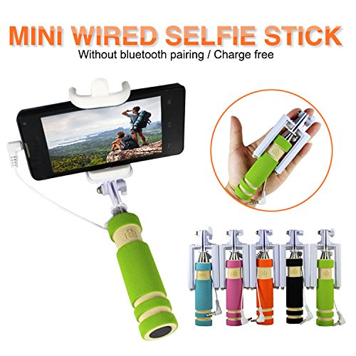 MIMOB Mini Selfie Stick With Aux Cable For Iphone, Android, Window Phone, No Bluetooth, No Charging Required (...