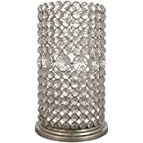 CONJURE Iron And Crystal Candle Holder (14.5 Cm X 14.5 Cm X 28 Cm, Silver)