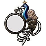 Divraya Wood Peacock Wall Mirror (33.02 Cm X 4 Cm X 40.64 Cm, DA140)