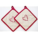 ELAN Cotton Pot Holder 20 X 20 Cm (Sweet Heart) (Set Of 2)