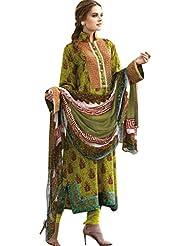 Lemon Green Colour Faux Chiffon Crape Semi Party Wear Embroidery Printed Churidar Suit (Jinaam) 6470B - B0154M7VVY