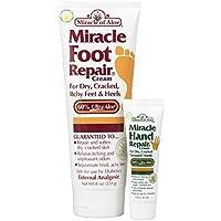 Miracle Of Aloe, Miracle Foot Repair Cream 8 Oz PLUS Miracle Hand Repair 1 Oz With 60% Pure Organic Aloe Vera...