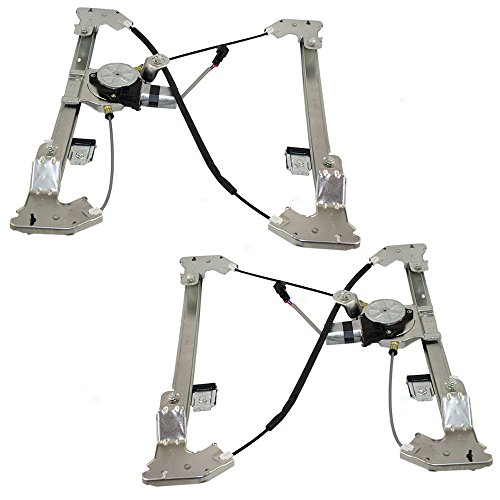 Driver and Passenger Rear Power Window Lift Regulators with Motors Assemblies for Ford Lincoln Pickup Truck 6L3Z1627001AA 6L3Z1627000AA
