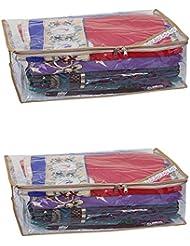 Kuber Industries Saree Cover Set Of 2 Pcs Full Transparent With Capacity Of 10-15 Sarees - B01HGCG85K
