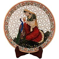 ECraftIndia Ragini With Peocock Marble Decorative Platter With Wooden Stand