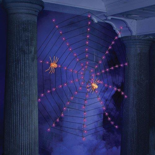 4' Indoor/Outdoor Lighted Purple Spider Web Halloween Lights