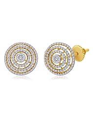 Peora Valentine 18 Karat Gold Plated Cubic Zirconia Circular Stud Earrings (PS93EG)
