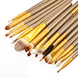 MagiDeal Women Girls Cosmetic Beauty Tools Eye Makeup 15 Assorted Color 15-Color Eyeshadow Palette+20Pcs/Set Eyebrow Lip Makeup Brushes Brown Gold