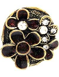 Sansar India Golden Maroon Meena Alloy Ring For Girls And Women