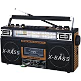 QFX AM/FM/SW1-SW2 4 Band Radio And Cassette To MP3 Converter And Recorder With USB/SD/MP3 Player-Wood