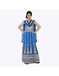 Nirali Women's Georgette Salwar Kameez SemiStiched Dress Material - Free Size (Blue)