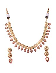 Ganapathy Gems 1 Gram Gold Plated Tradtional Necklace Set With Green And Pink Necklace Set.