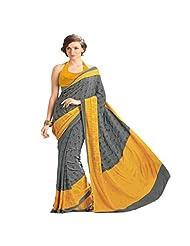 Sun Merchandise Beautiful Yellow & Grey Color Crape Saree
