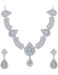 Sukkhi Divine Rhodium Plated AD Necklace Set For Women