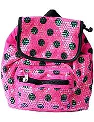 Pink And Black Polka Dot Print Toddler Little Girls' Sequined Drawstring Backpack