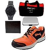Spot On Men's Black Orange Sports Running Shoes, Reebok Gym Bag, Wallet, Card Holder & Optima Black Watch Combo