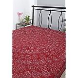Rajrang Maroon Cotton Embroidered Bedsheet Single #Bst02030