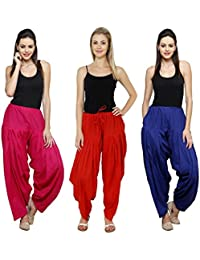 Fashion Store Combo Of Womens Solid Cotton Rani Pink,Red And Royal Blue Best Ethnic Comfort Punjabi Patiala Salwar...